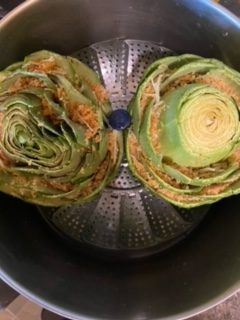 artichokes in the steamer rotated